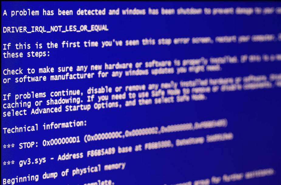 """""""Windows"""" operacinių sistemų """"mėlynasis mirties ekranas"""""""
