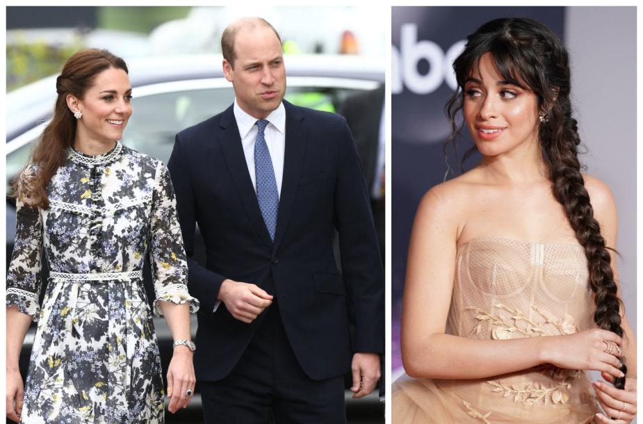 Kembridžo hercogienė Kate Middleton, princas Williamas, dainininkė Camila Cabello