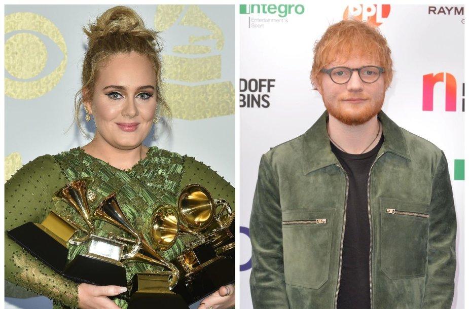 Dainininkai Adele ir Edas Sheeranas