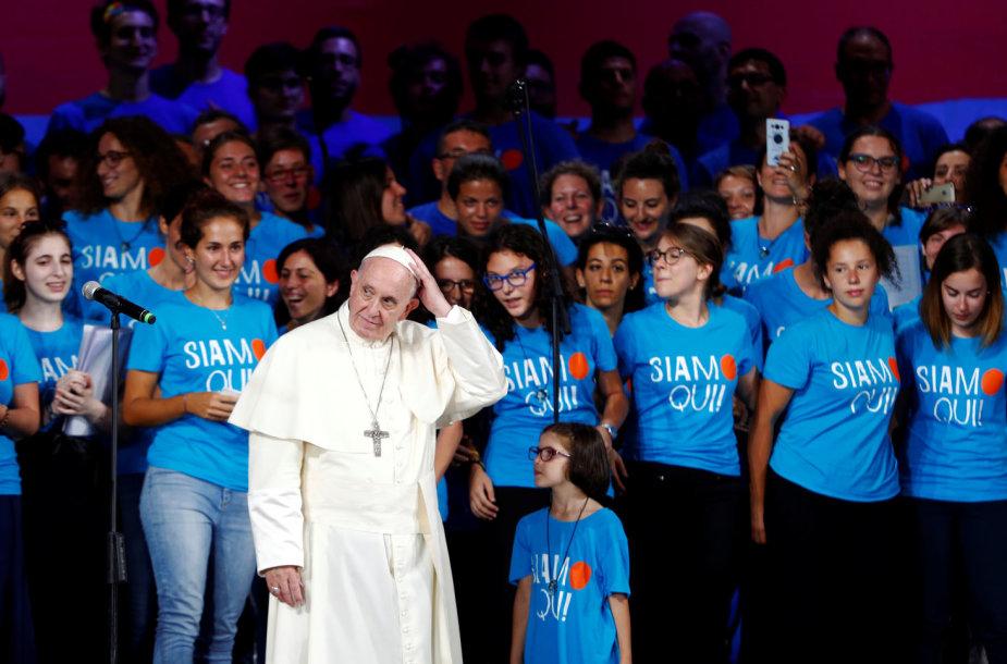Popiežius susitiko su Italijos jaunimu Romoje