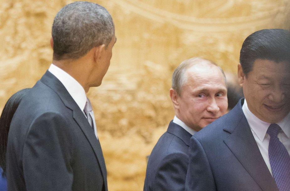 JAV prezidentas Barackas Obama, Rusijos prezidentas Vladimiras Putinas ir Kinijos prezidentas Xi Jinpingas