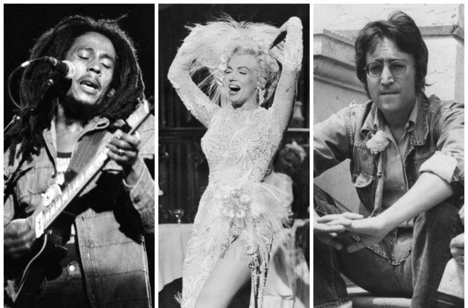 Bobas Marley, Marilyn Monroe ir Johnas Lennonas
