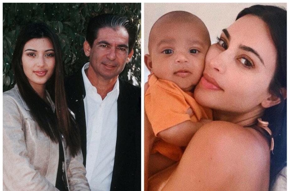 Kim Kardashian su tėvu Robertu ir sūnumi Psalmu