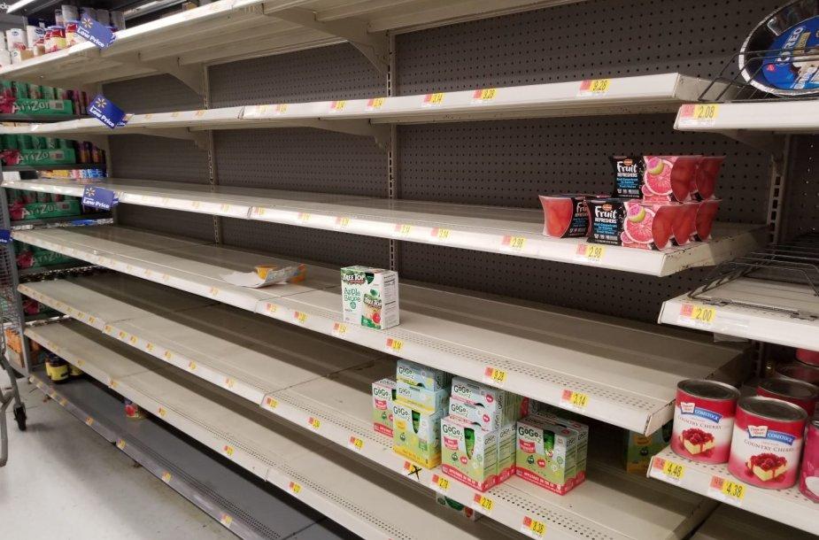 Havajuose akis bado tuščios parduotuvių lentynos.