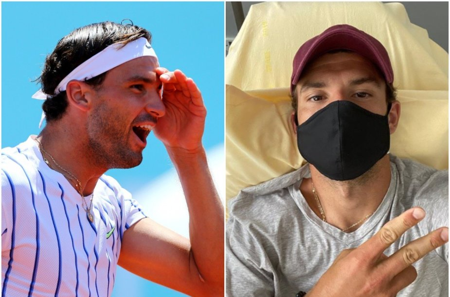 Grigoras Dimitrovas dar žaidė turnyre Zadare šią savaitę (nuotr. kairėje), bet sekmadienį pranešė apie užsikrėtimą virusu.