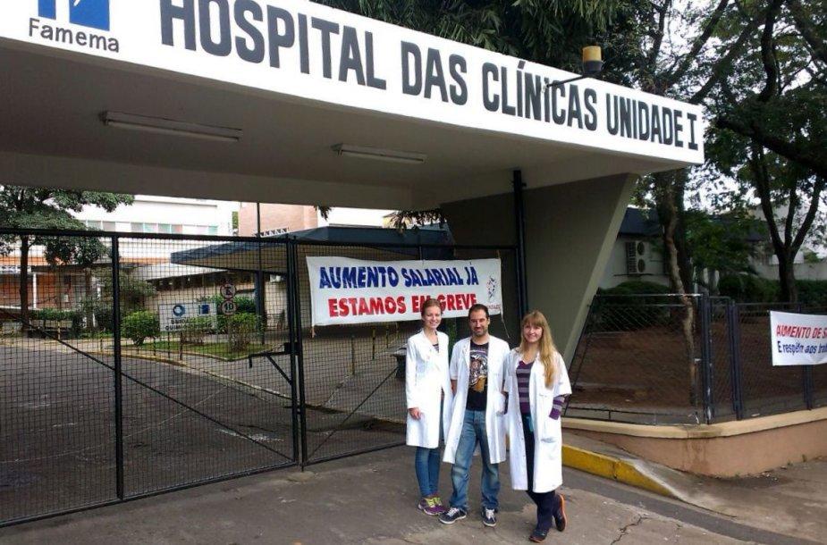 Iškaba skelbia, jog ligoninėje streikuojama
