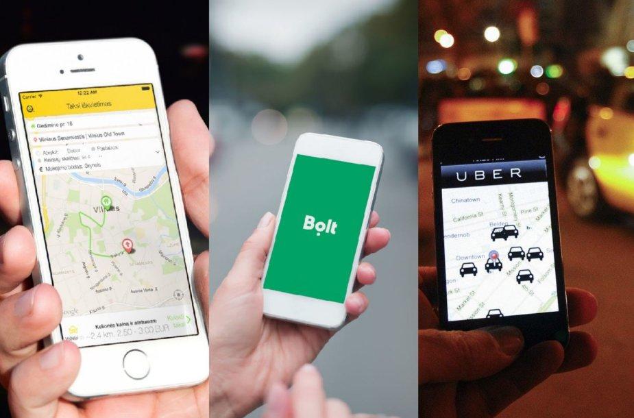 """Uber"", ""Bolt"", ""eTaksi"" koliažas"