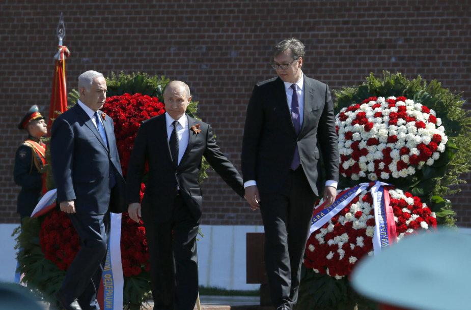 B.Netanyahu, V.Putinas ir A.Vučičius