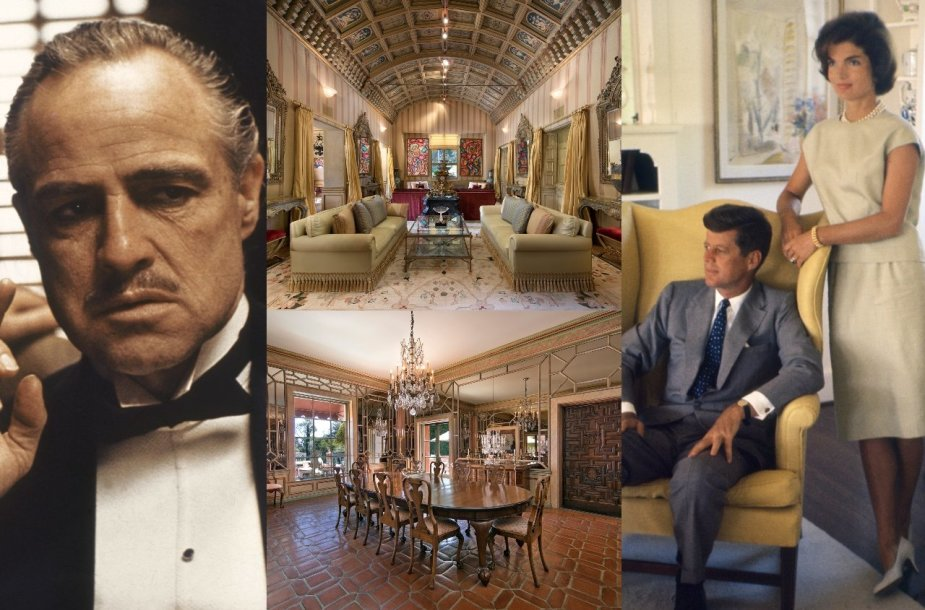 """Marlonas Brando, Johnas ir Jackie Kennedy, """"Hearst Estate"""""""