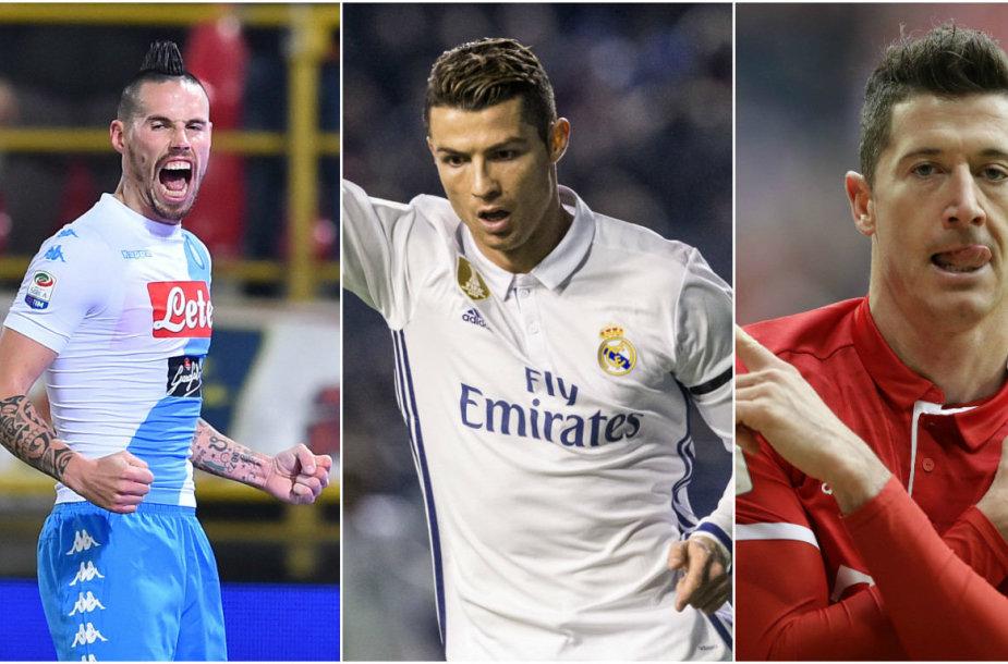 Marekas Hamšikas, Cristiano Ronaldo ir Robertas Lewandowskis