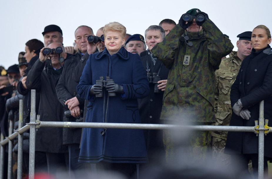 """Lietuvos prezidentė Dalia Grybauskaitė stebėjo NATO pratybos """"Geležinis kardas 2014"""""""
