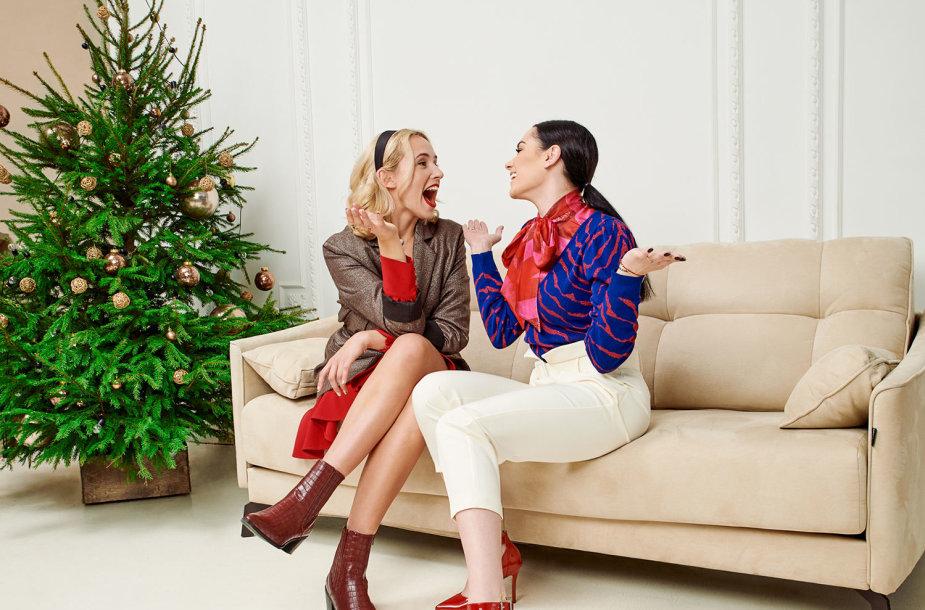 Kalėdinio vakarėlio aprangos idėja. Modeliai – Viktorija Šaulytė ir Simona Nainė