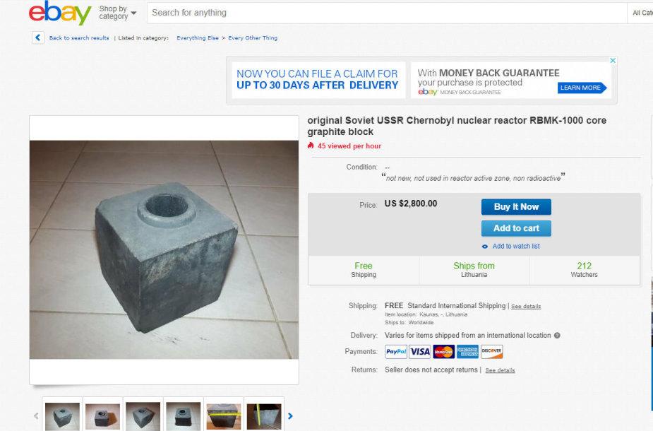 Grafitinis reaktoriaus blokas parduodamas internete