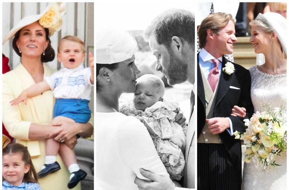 Kate Middleton, princas Louisas, Meghan Markle, Archie, princas Harry, Thomas Kingstonas ir Gabriella Windsor