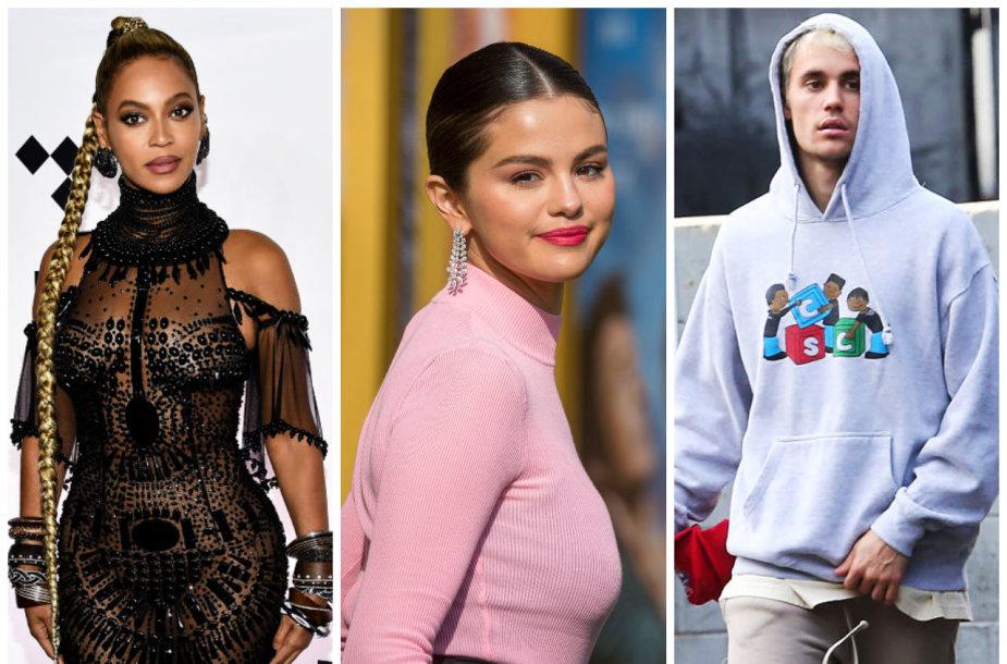 Beyonce, Selena Gomez, Justinas Bieberis