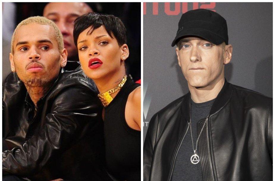 Chrisas Brownas, Rihanna ir Eminemas