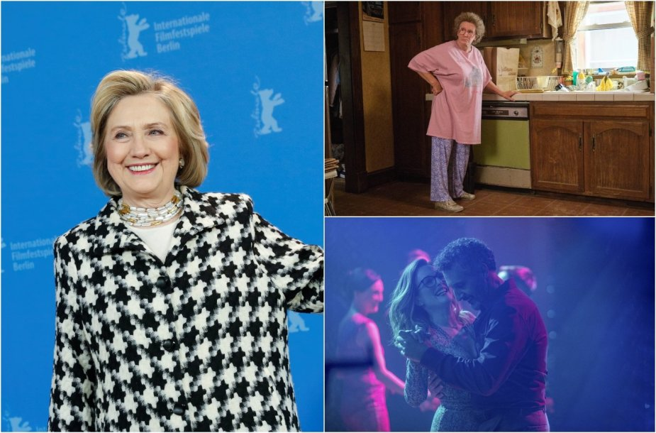 "Hillary Clinton ir kadrai iš filmų ""Hillbilly Elegy"" bei ""Gloria Bell"""