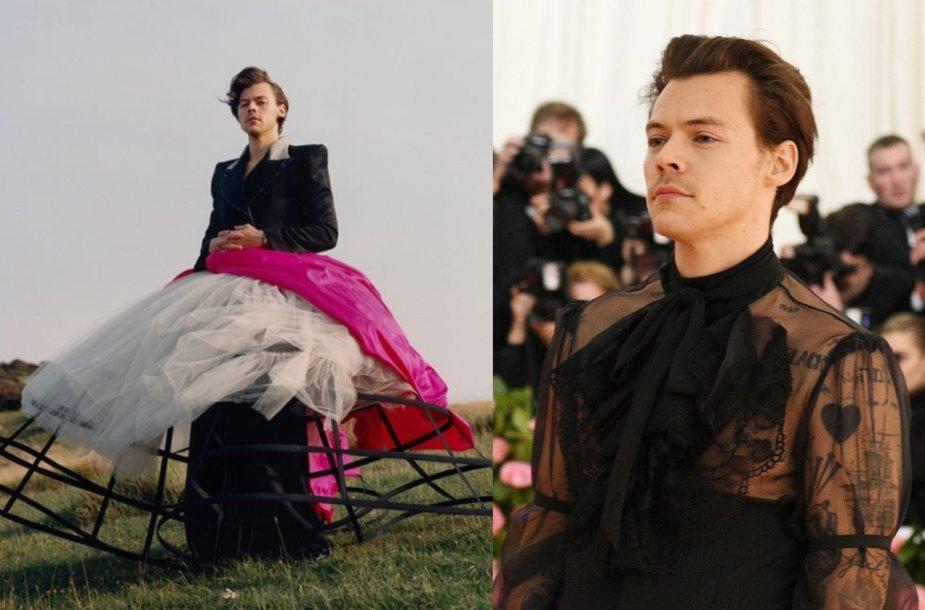 """Harry Stylesas (""""Vogue"""" fotosesijoje ir """"Met Gala"""" renginyje)"""
