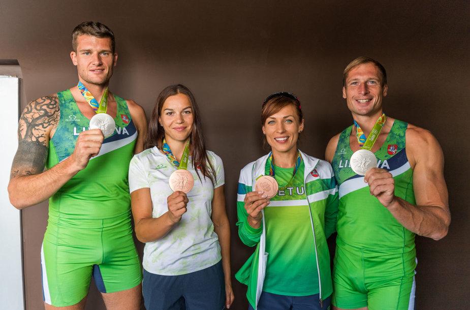 Olimpiniai medalininkai – Saulius Ritteris, Milda Valčiukaitė, Donata Vištartaitė ir Mindaugas Griškonis