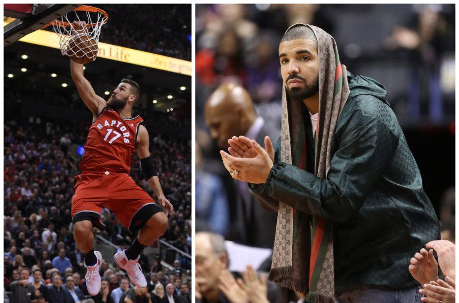 """Jonas Valančiūnas ir reperis Drake'as Toronto """"Raptors"""" varžybose"""