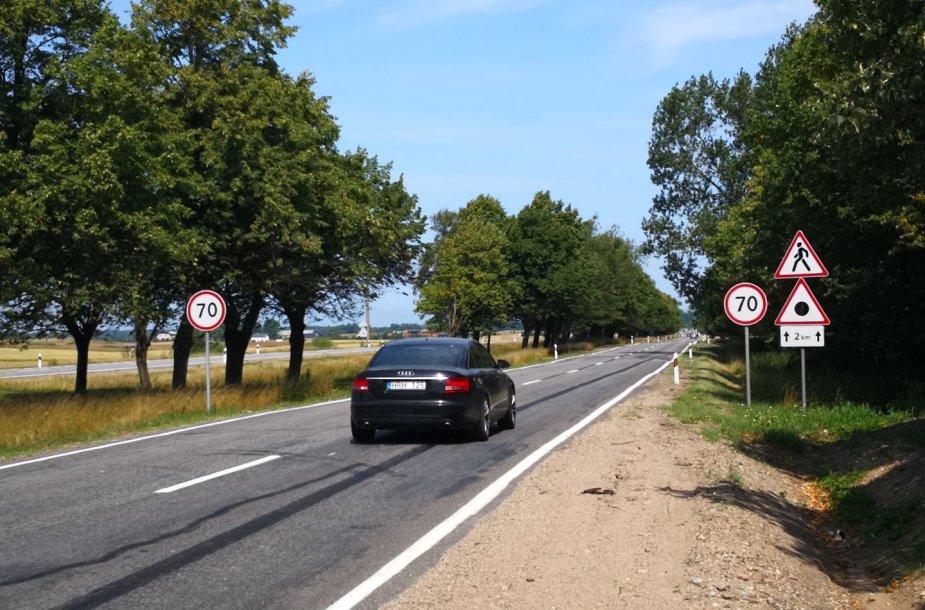 13-asis kelio A13 kilometras, važiuojant į Klaipėdos į Palangą
