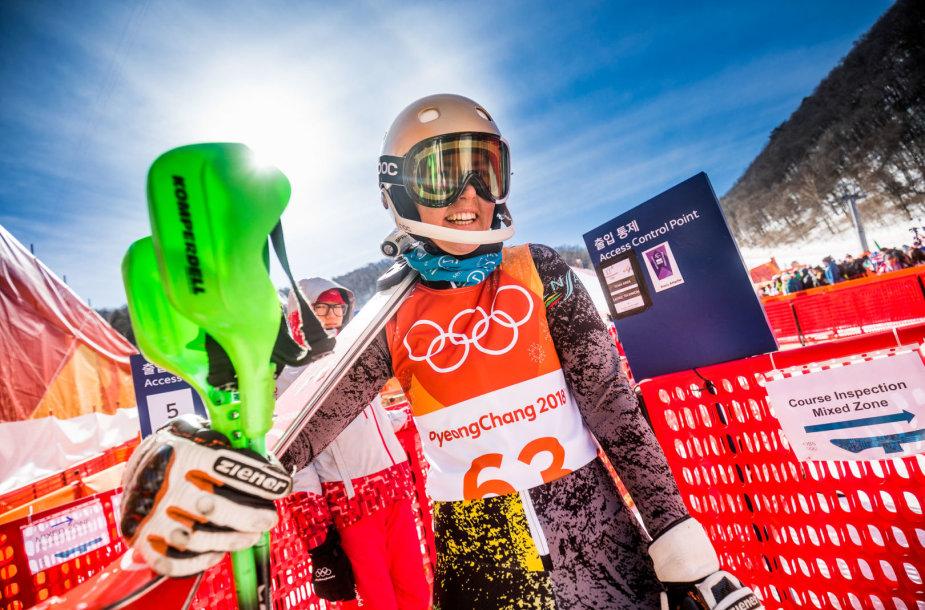 Ieva Januškevičiūtė olimpinių žaidynių Pjongčange slalomo rungtyje.