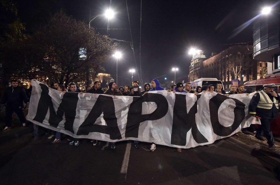 Serbų protesto akcija Belgrade