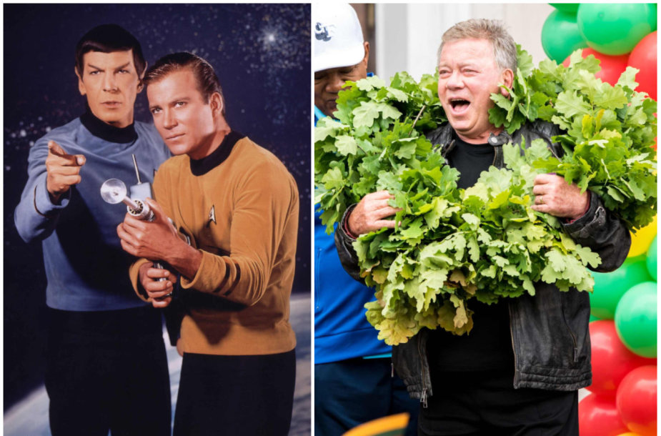 """Williamas Shatneris Vilniuje ir su Leonardu Nimoy seriale """"Žvaigždžių kelias"""" (kairėje)"""