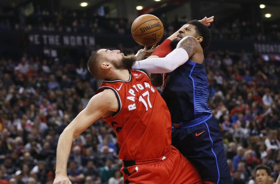 """Jonas Valančiūnas pelnė 10 taškų, bet """"Thunder"""" pranoko Toronto klubą 132:125."""