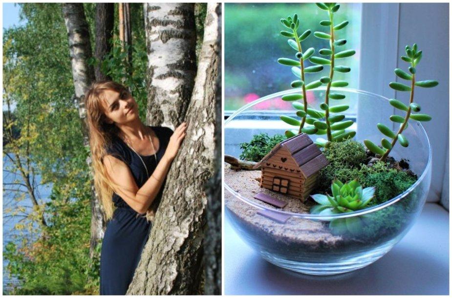 Indrė Nikitina ir jos kurtas mini sodas