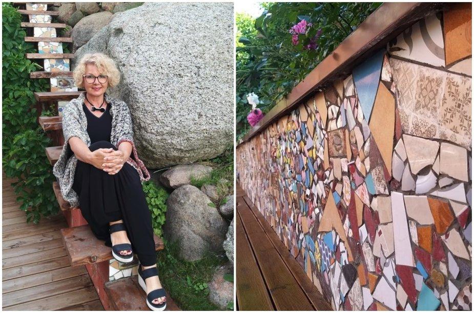 Menininkė Dalia Kirkutienė laimingomis šukėmis išpuošė terasos sieną