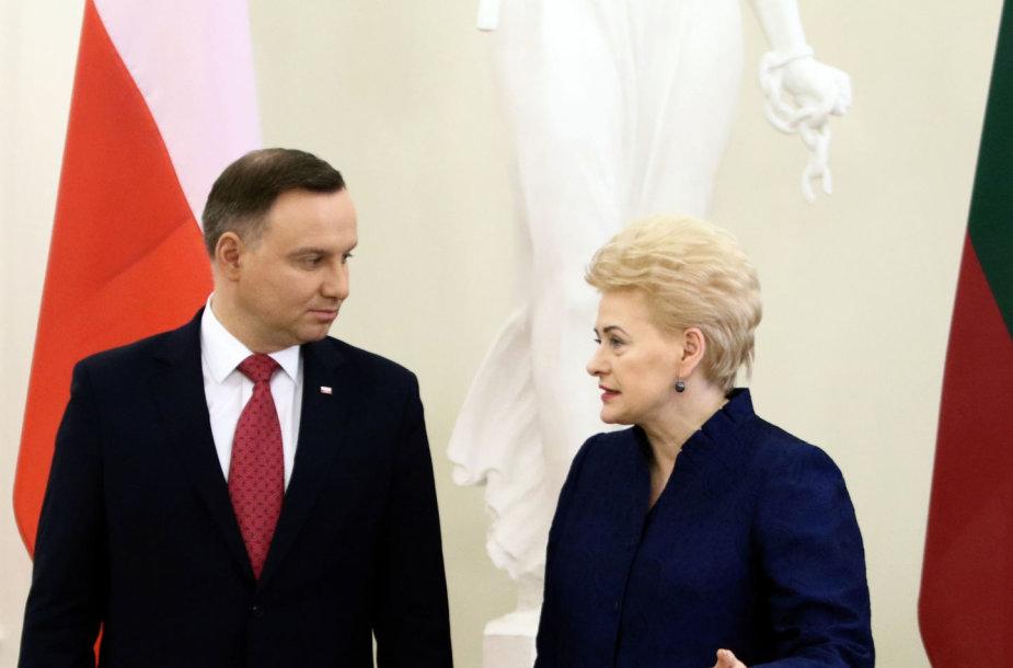 Andrzejus Duda ir Dalia Grybauskaitė Vilniuje