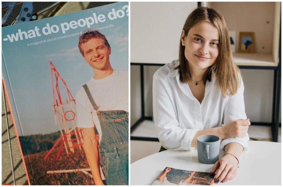 Rasa Jusionytė ir jos leidžiamo žurnalo viršelis