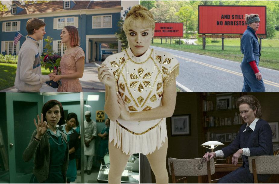 Frances McDormand, Meryl Streep, Margot Robbie, Saoirse Ronan ir Sally Hawkins