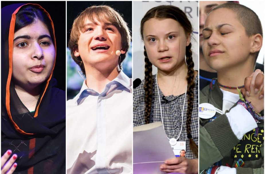 Malala Yousafzai, Jackas Andraka, Greta Thunberg, Emma Gonzalez