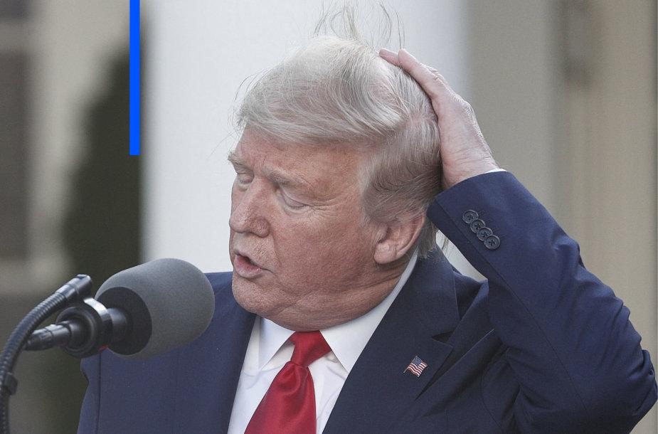 Donaldas Trumpas ir jo karantino šukuosena