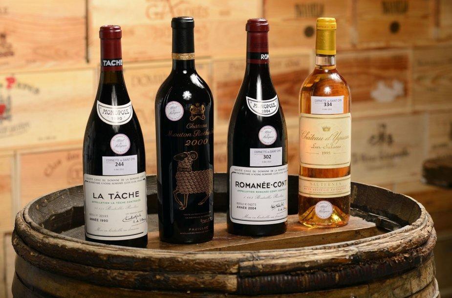 """Vyno buteliai iš Prancūzijos premjero rūsio. tarp jų – ir """"Romanee-Conti 2004"""""""