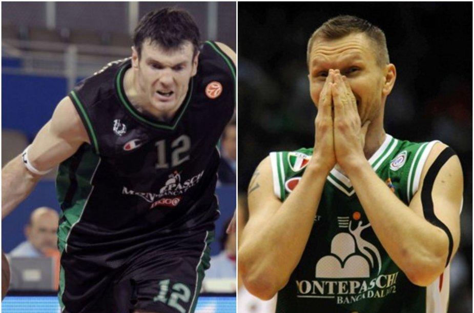 """Kšištofas Lavrinovičius ir Rimantas Kaukėnas yra atsigavę su Sienos """"Montepaschi"""" komanda po pralaimėjimo 48 taškų skirtumu."""
