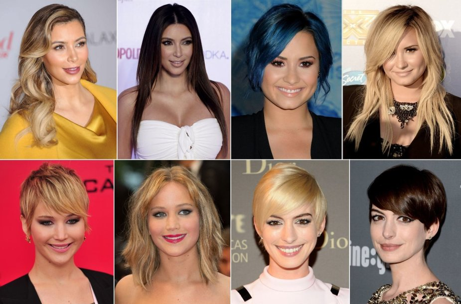 Kim Kardashian, Demi Lovato, Jennifer Lawrence ir Anne Hathaway šukuosenų pokyčiai