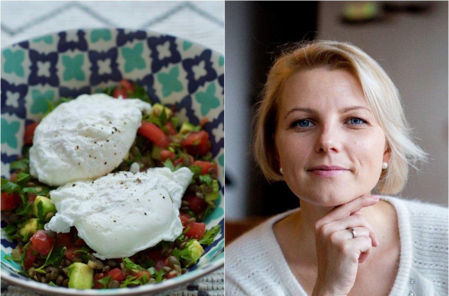 Be lukšto virti kiaušiniai su lęšių ir pomidorų salotomis