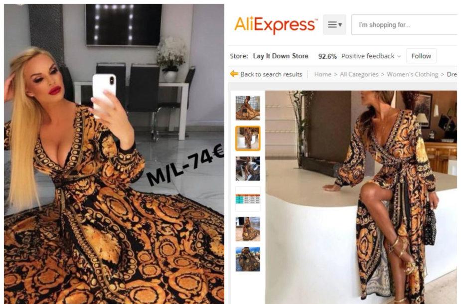 """Vita Jakutienė su savo drabužių butiko suknele ir identiška suknelė iš """"Aliexpress"""""""