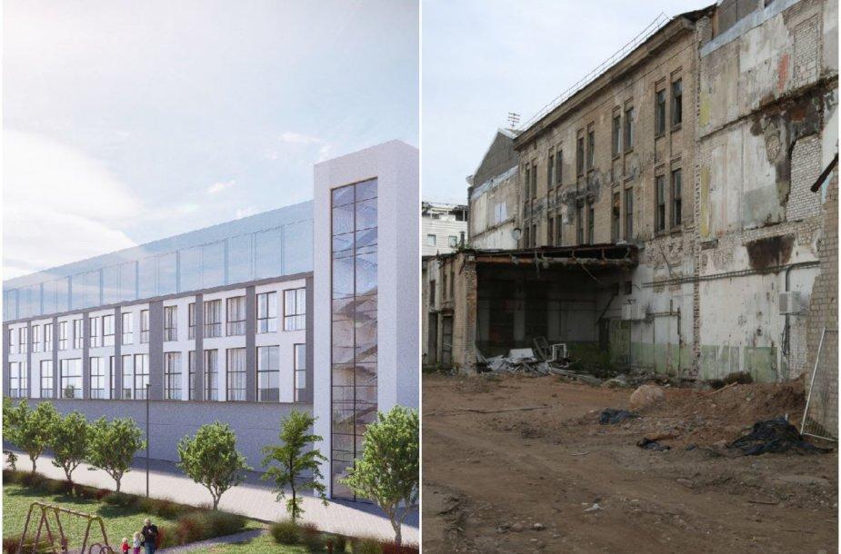 Senasis pastato vaizdas ir būsimojo vizualizacija