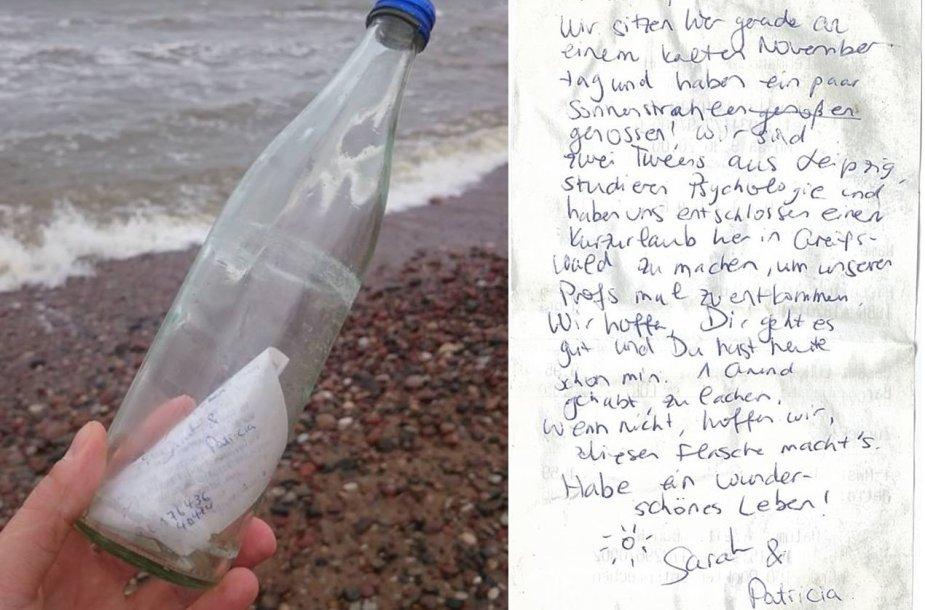 Lietuvos pajūryje rastas laiškas
