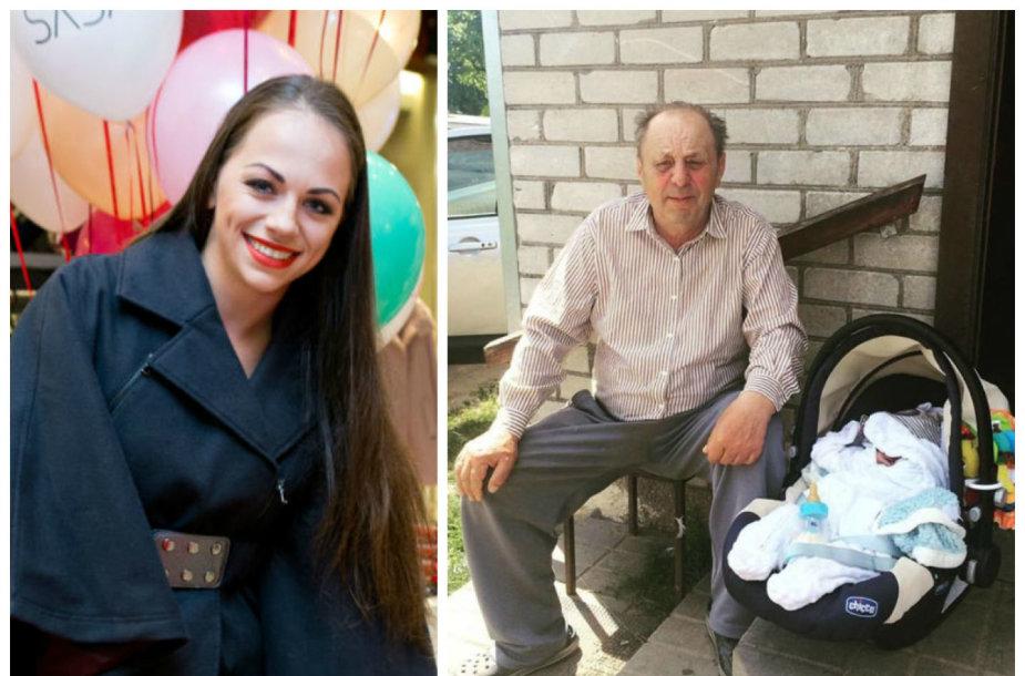 Ineta Puzaraite-Žvagulienė ir jos senelis Bernardas Baliukas su proanūkiu – Inetos sūnumi Bernardu