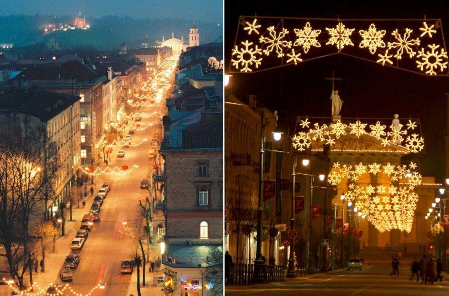 Kalėdos Gedimino prospekte 1997 m. ir 2004 m.
