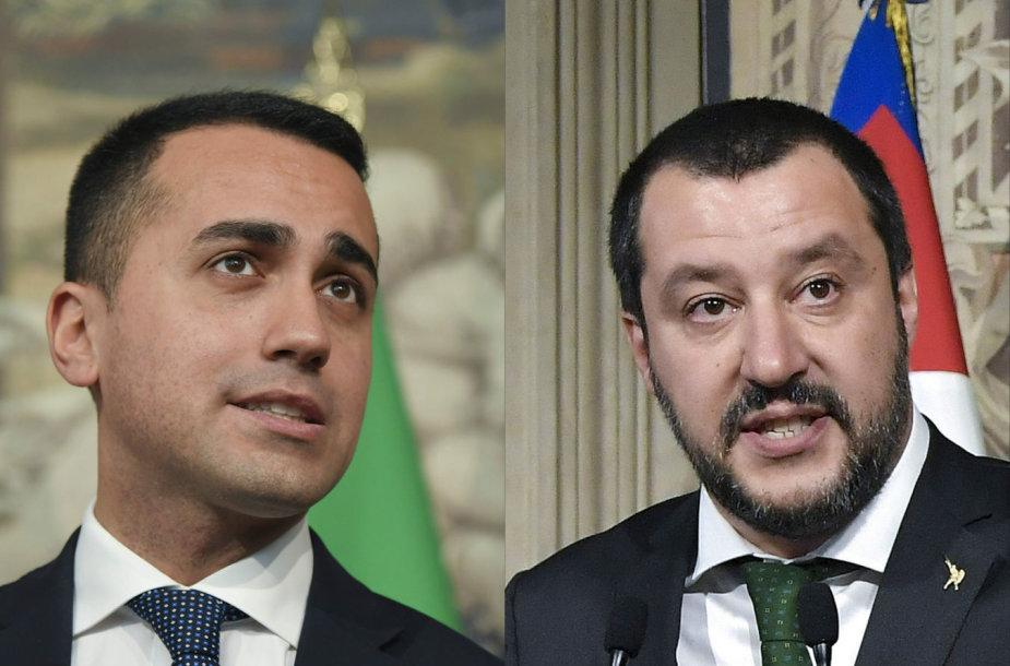 Luigi Di Maio (kairėje) ir Matteo Salvini