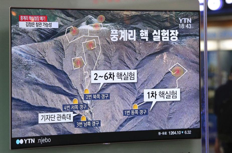 Šiaurės Korėja pranešė visiškai likvidavusi branduolinių bandymų poligoną