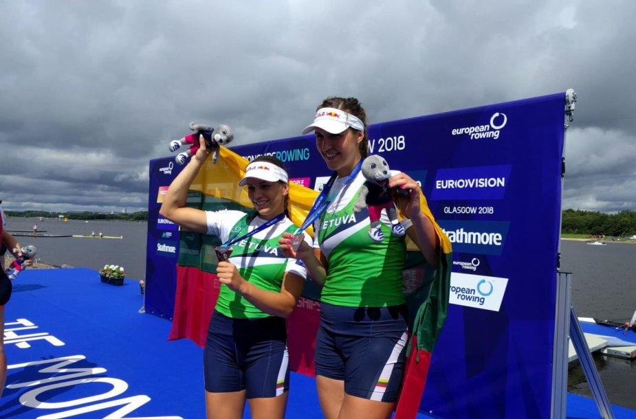 Lietuvos irkluotojos Milda Valčiukaitė ir Ieva Adomavičiūtė Europos čempionate Glazge iškovojo bronzą.
