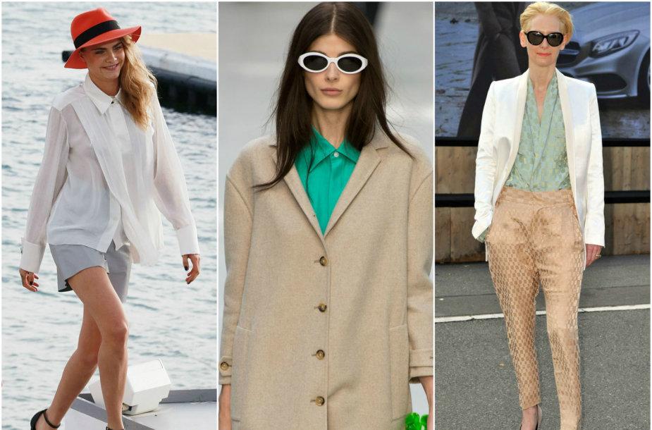 """Iš kairės: Cara Delevingne, """"Burberry Prorsum"""" modelis ir Tilda Swinton."""