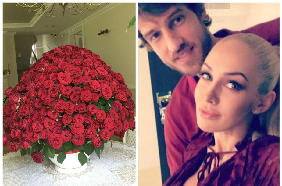 Simo Jasaičio dovanotos rožės Oksanai Pikul-Jasaitienei 4-ųjų vestuvių metinių proga